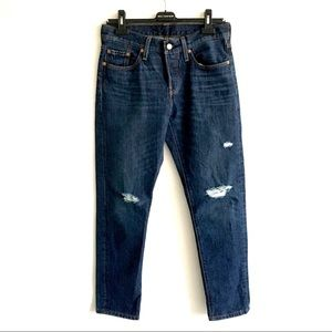 LEVI's 501 T Tapered High Rise Denim Jeans Blue 26